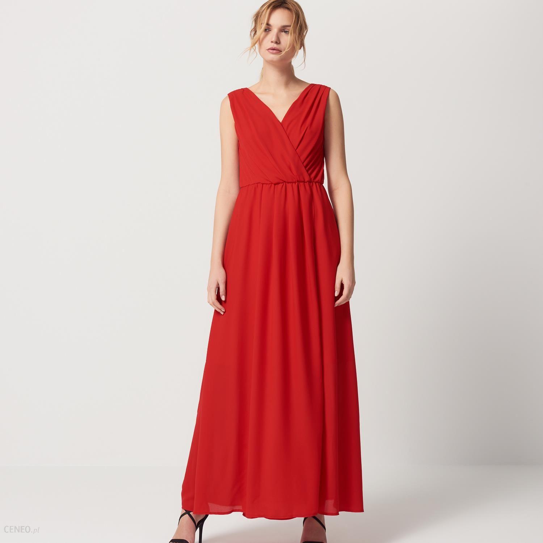 Mohito Długa sukienka z kopertowym dekoltem Czerwony damski