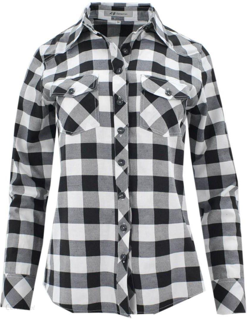 Koszula w kratę 100% bawełna (czarno biała) Ceny i opinie  kvOIJ