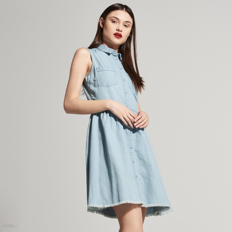 1af0118354 House - Denimowa sukienka z postrzępionym brzegiem - Niebieski - damski -  zdjęcie 1