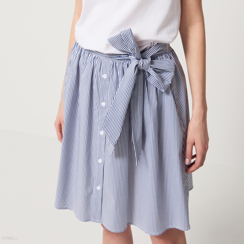 be58978a Mohito - Bawełniana spódnica z wiązaniem - Biały - damski