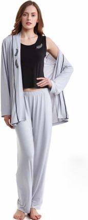 122ed723f7c556 Damska bambusowa piżama GABRIELLE ze szlafrokiem S Srebrny