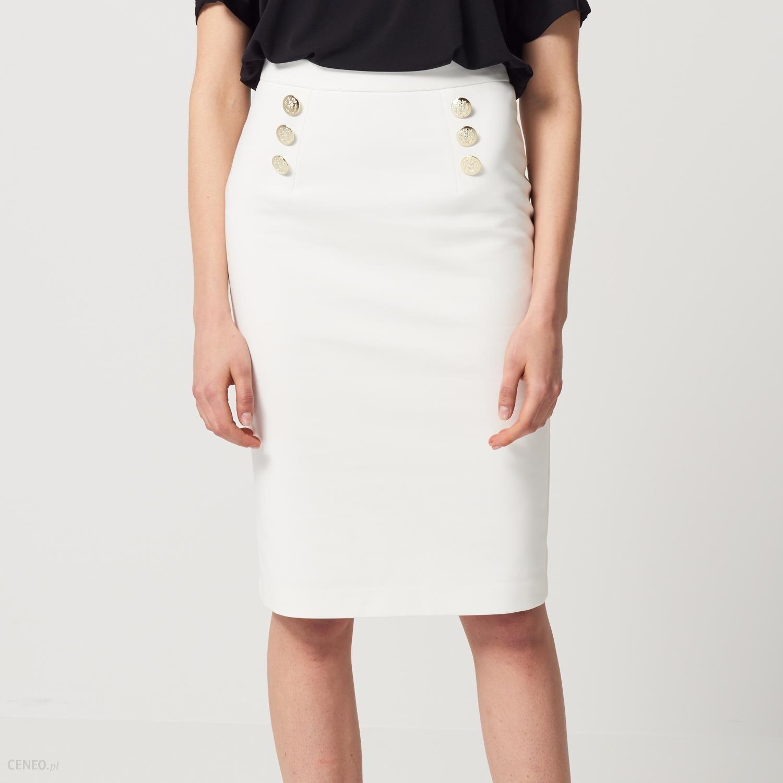 906e9668 Mohito - Ołówkowa spódnica z ozdobnymi guzikami - Biały - damski
