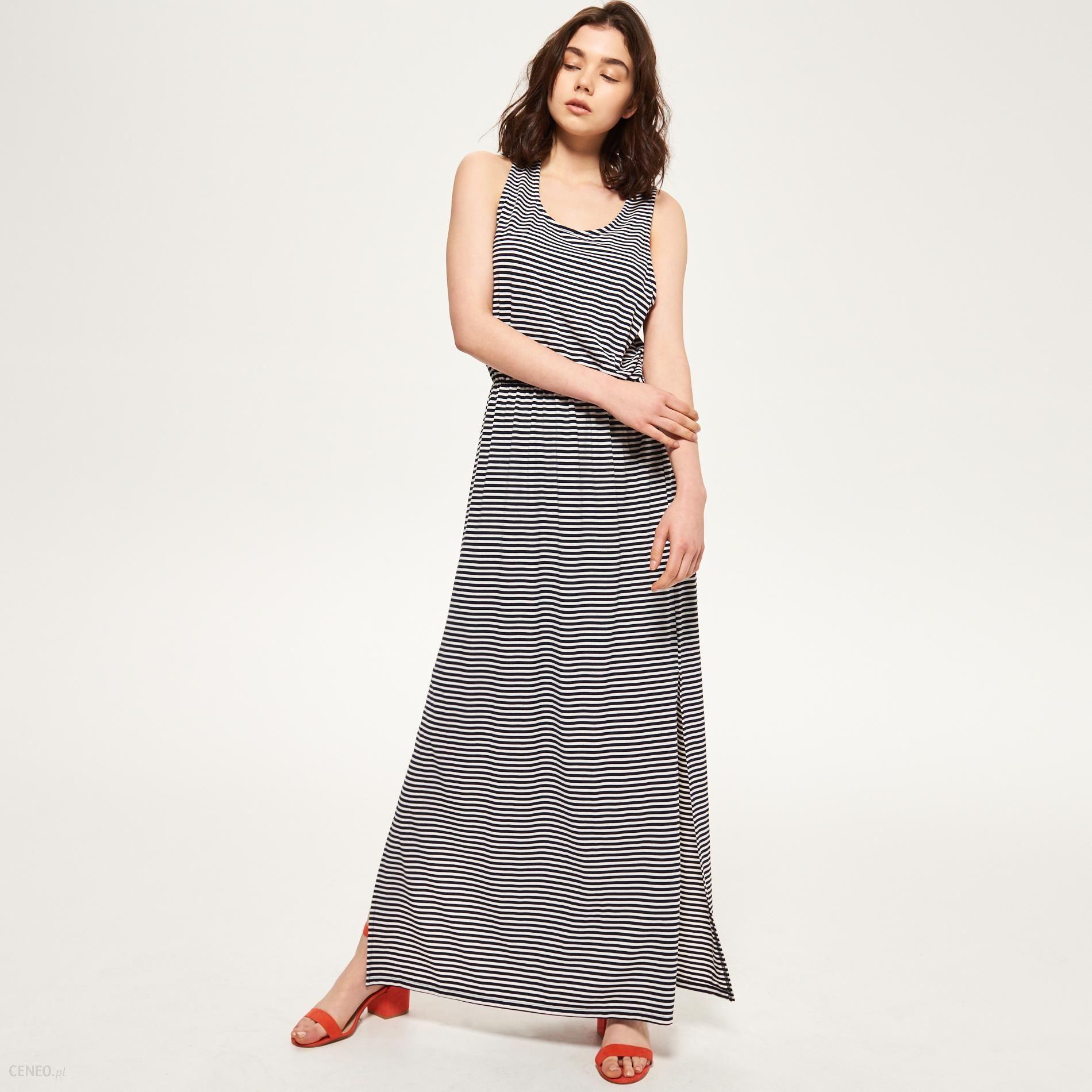 11adff30a4b6e0 Reserved - Długa sukienka - Granatowy - damski - Ceny i opinie ...