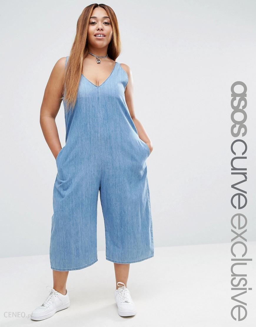 2a8ea8cf83da3 ASOS CURVE Minimal Denim Jumpsuit - Blue - zdjęcie 1