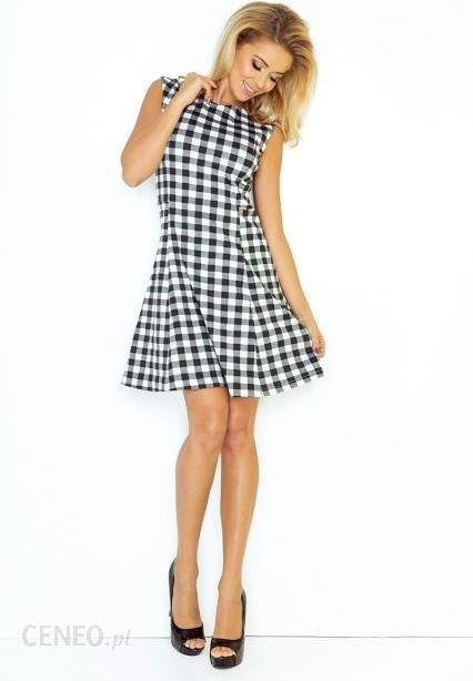 9f6d221777 Sukienka trapezowa w czarno-białą kratkę S czarno-biały - Ceny i ...