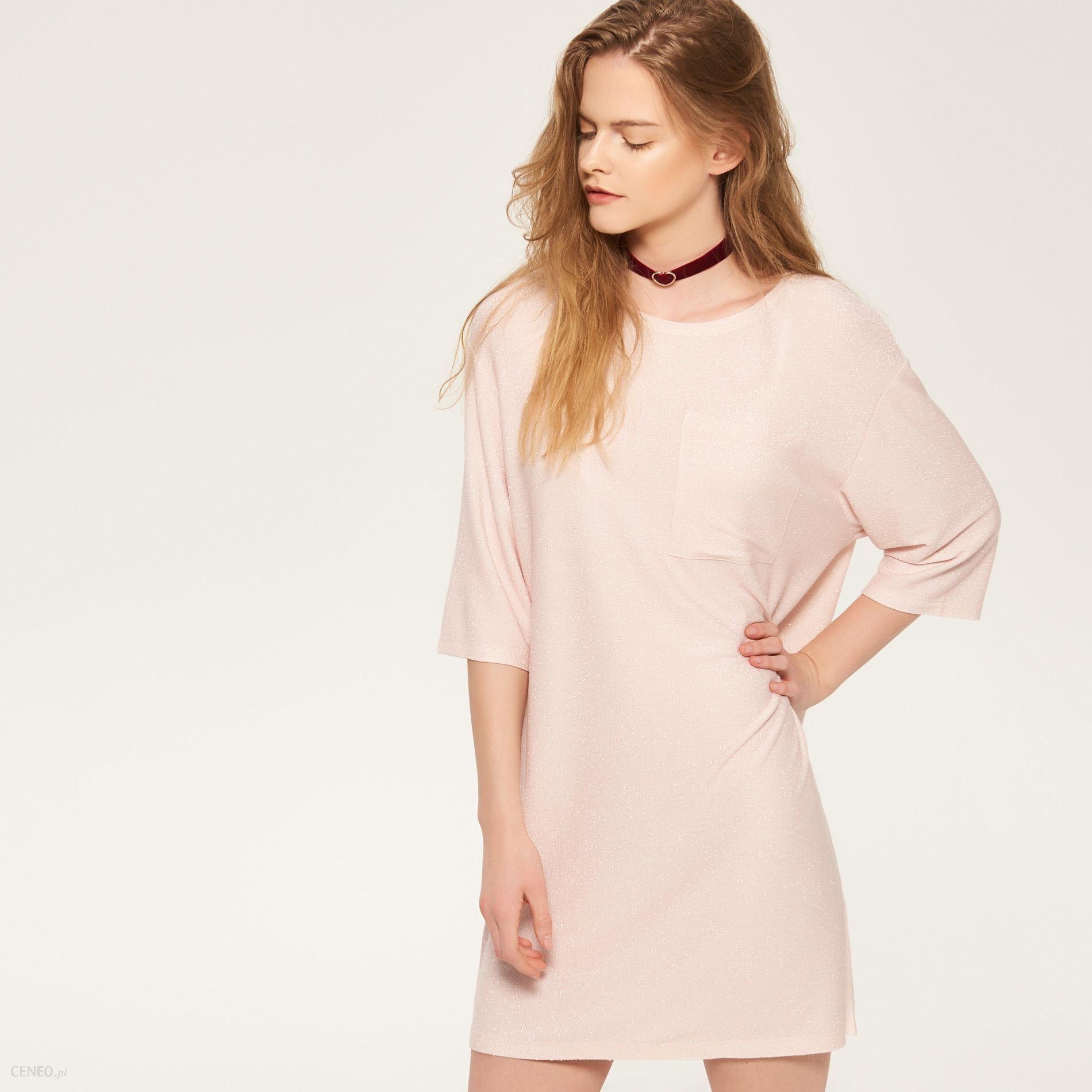 c0a589abc3 Reserved - Sukienka z błyszczącą nitką - Różowy - damski - Ceny i ...
