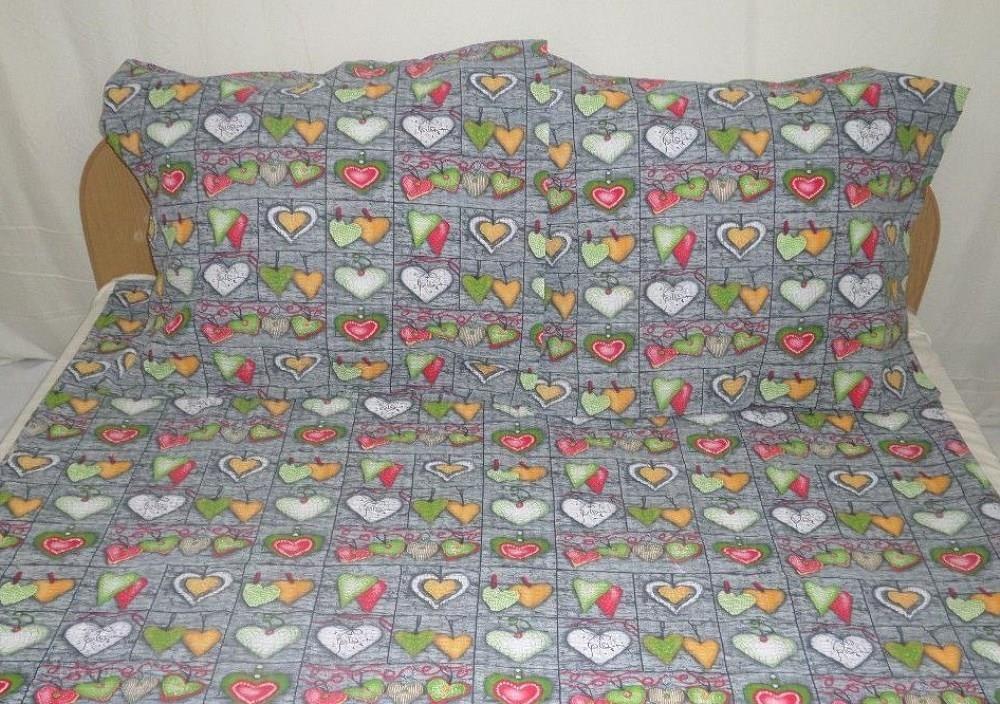 Pościel Z Kory 200x220 230 Szara Serca Kolorowe Guziki 100 Bawełna