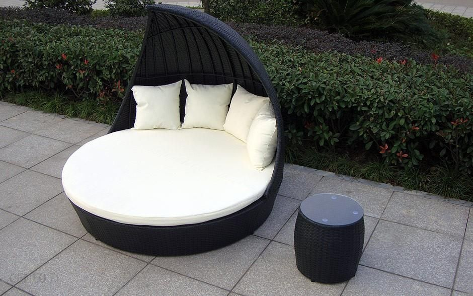 1001mebli Fantazja Okrągłe łóżko Ogrodowe 168 Cm Baldachimem Leżanka Ogrodowa Z Technorattanu
