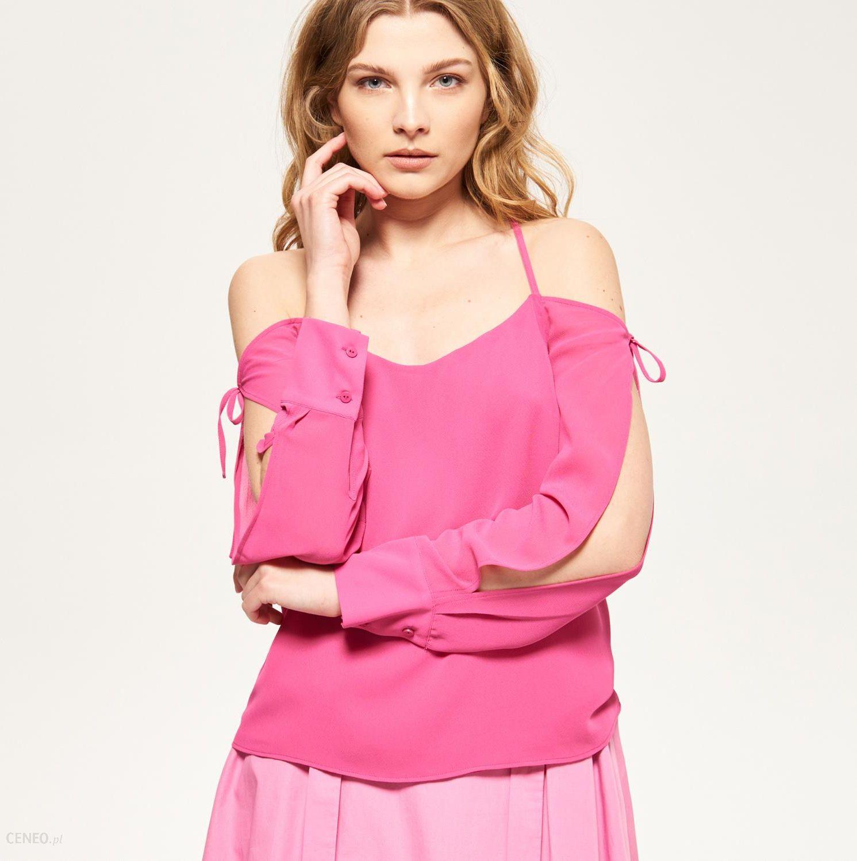 Reserved Bluzka z wycięciami na ramiona Różowy damski