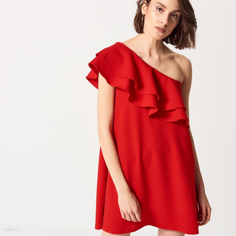 Mohito Sukienka na jedno ramię z falbanami Czerwony damski