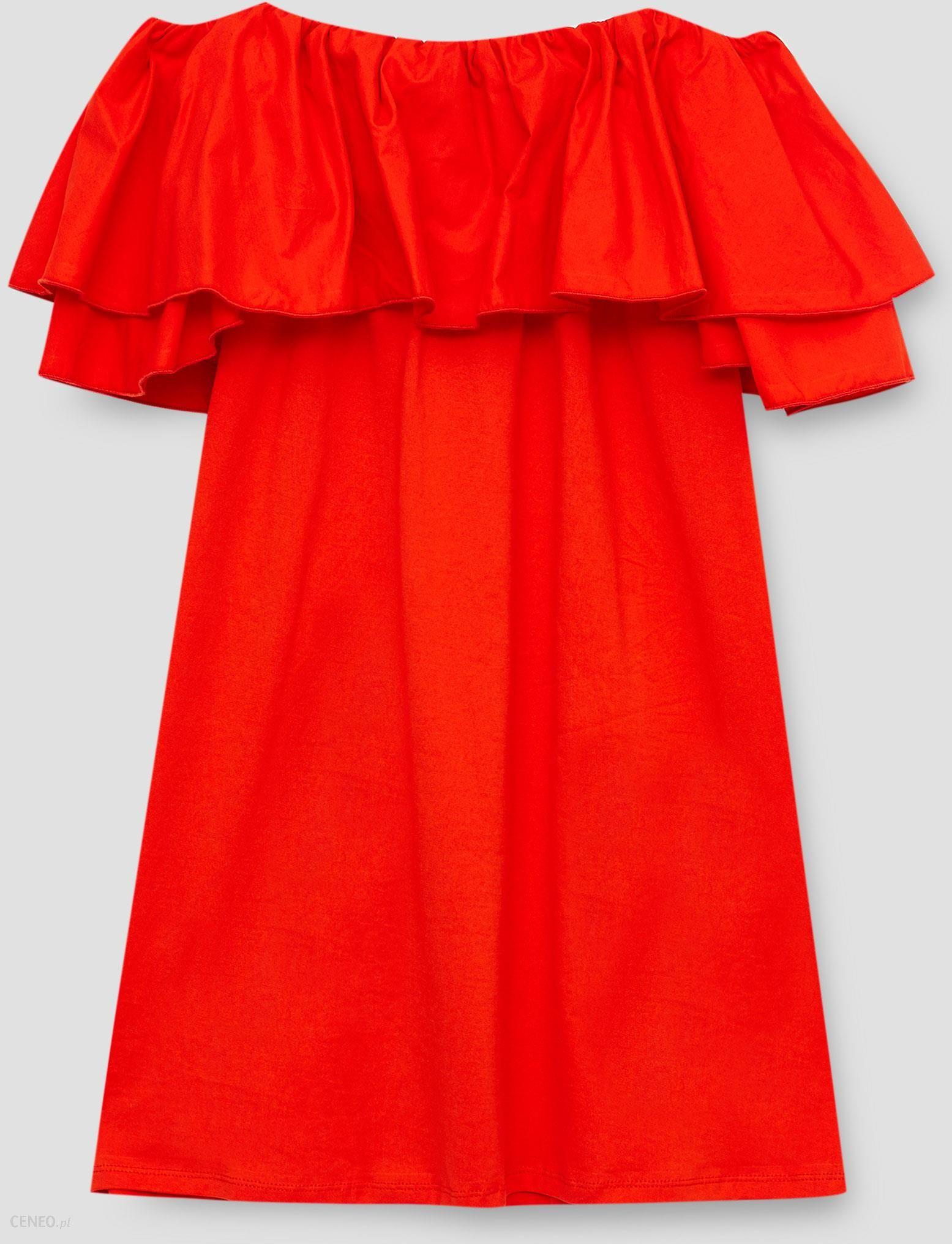 4818beca Pull&Bear Sukienka z dekoltem z falbanami i z odkrytymi ramionami