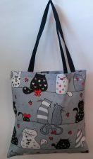 f5cea6fed4d48 Torba bawełniana na zakupy 37x38 17A szara koty myszki krawaty czerwone