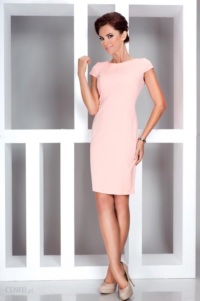 b8dc9ce46a Elegancka sukienka z krótkim rękawkiem - Brzoskwinia 37-1 - Ceny i ...