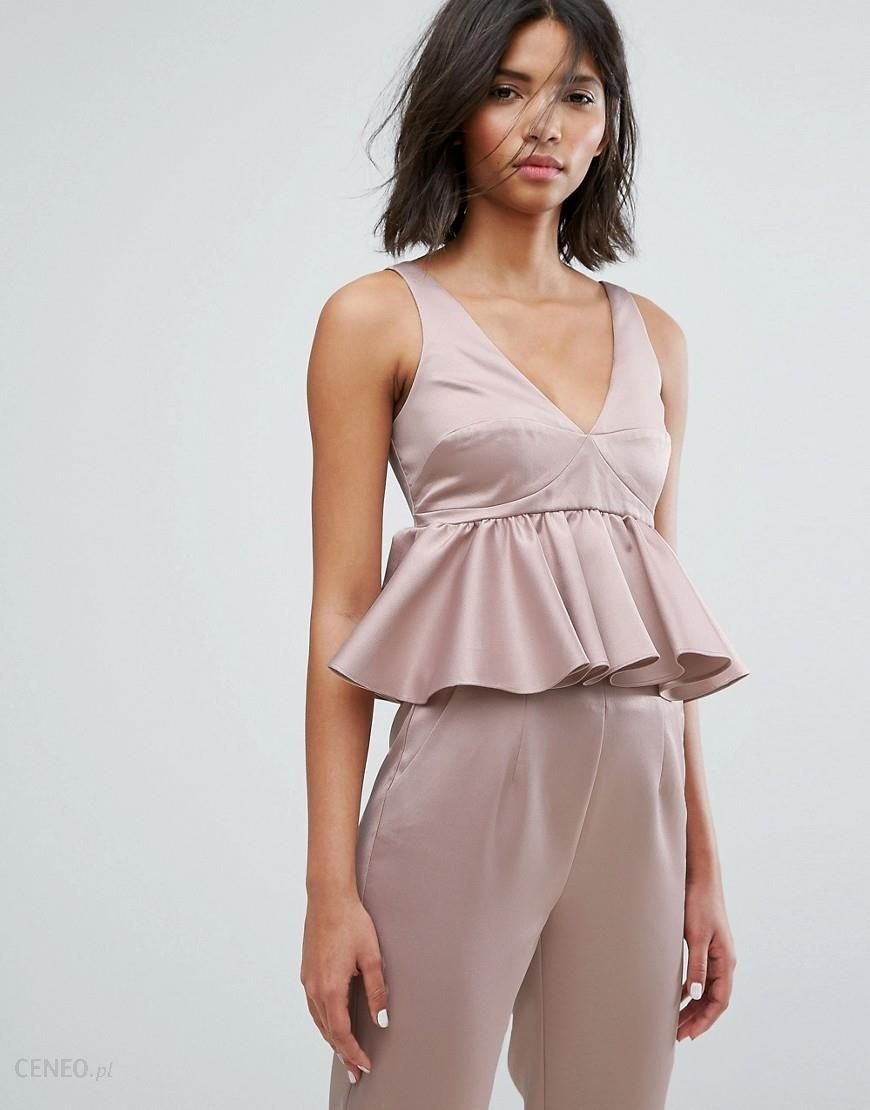 Lost Ink Crop Top With Peplum Hem In Satin Co Ord Pink Ceneo.pl
