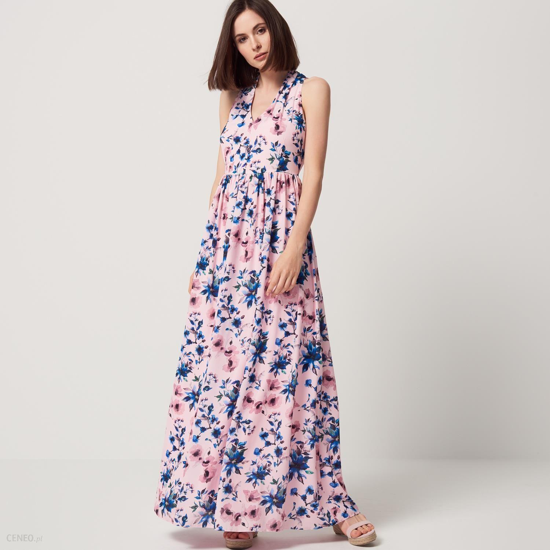 e7cd2c937f Mohito - Długa szyfonowa sukienka w kwiaty - Różowy - damski - zdjęcie 1