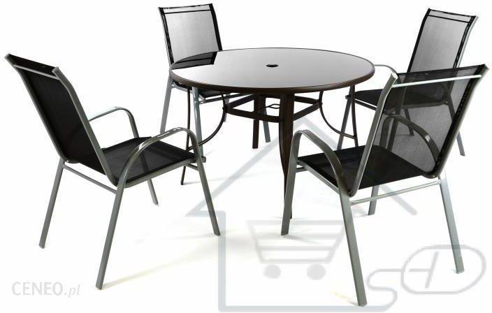 Hurtowniak Zestaw Ogrodowy 4 Krzesła Stół Ze Szklanym Blatem