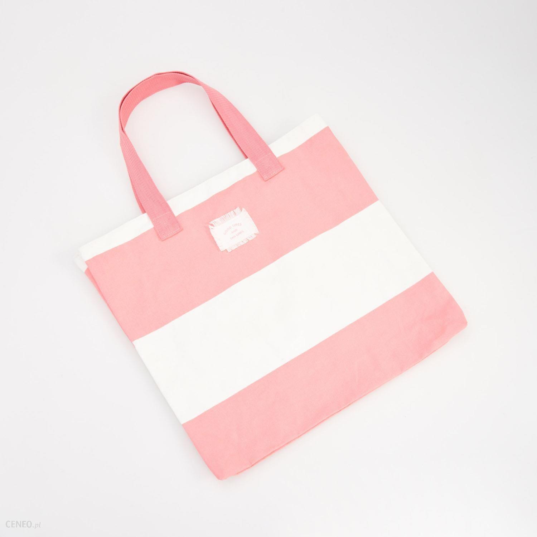 7198b04c60c6f Reserved - Płócienna torba w paski - Pomarańczo - damski - Ceny i ...