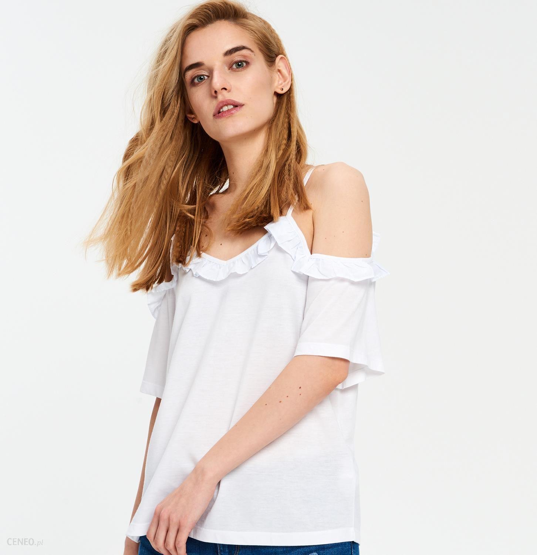 Cropp Bluzka z odkrytymi ramionami Biały damski