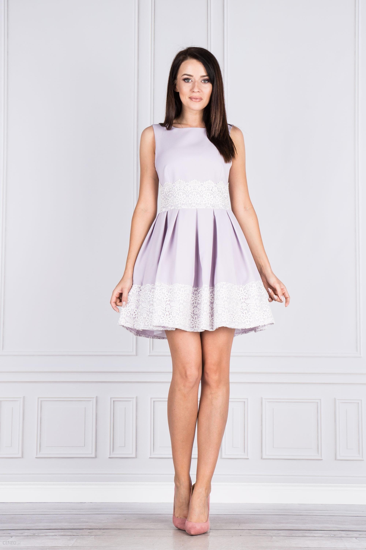 ca3f2c63e7 PtakModa - Rozkloszowana sukienka z koronką BICOTONE - Ceny i opinie ...