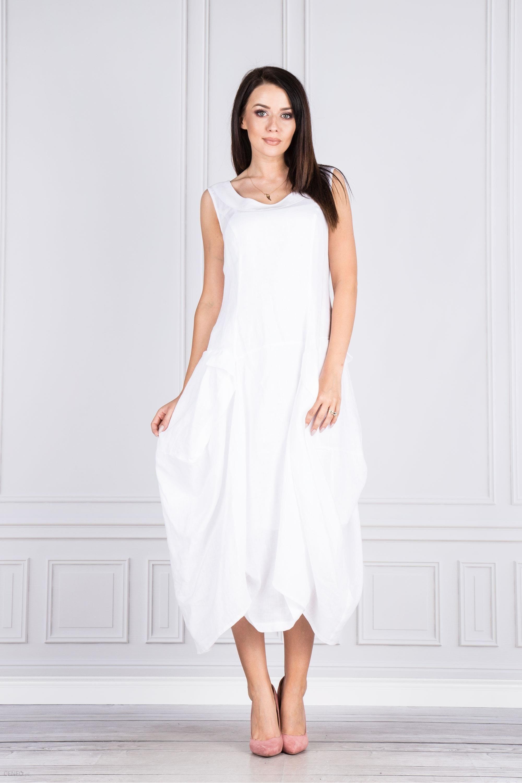 dd1a80f221 PtakModa - Lniana sukienka midi z efektownym dołem SPILLO - Ceny i ...