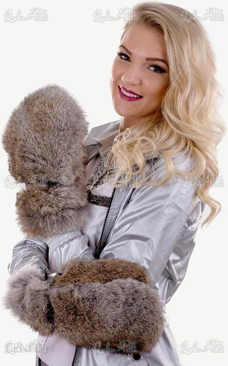 a8ee7536bf4ea Rękawiczki futrzane z futrem królika naturalnego - Futro królika - zdjęcie 1