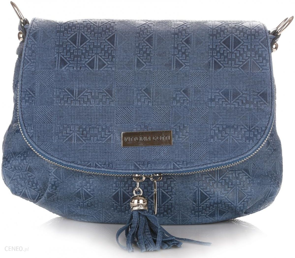 73fdfa9ff8806 Firmowe Torebki Listonoszki Skórzane Vittoria Gotti Made in Italy Niebieska  (kolory) - zdjęcie 1