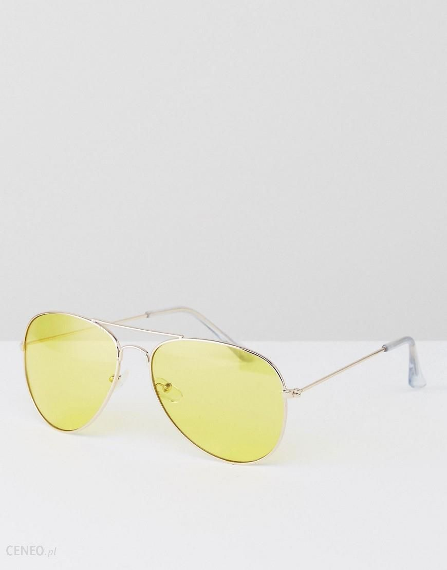 1b8f468e7e Jeepers Peepers Aviator Gold Sunglasses with Yellow Tinted Lens - Yellow -  zdjęcie 1