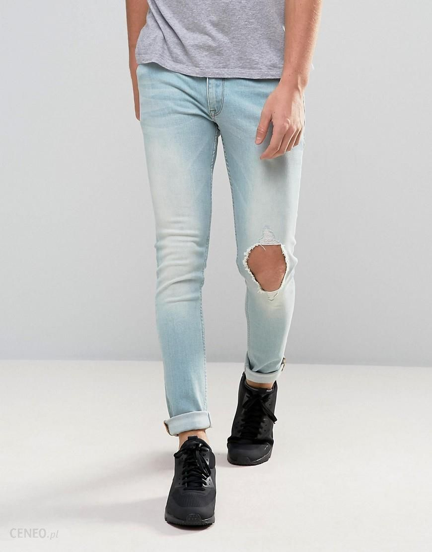 ba3d105b ASOS Extreme Super Skinny Jeans With Single Open Rips In Bleach Blue - Blue  - zdjęcie