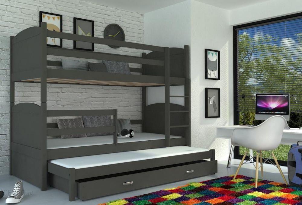 Kod Aj łóżko Piętrowe Mateusz Mdf 3 Osobowe 184x80 Szary