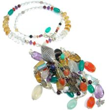 Chic Boho  Style Authentic Multistone  Sterling Silver handmade necklace