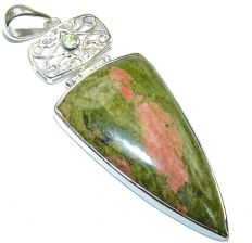 Big  Excellent  Russian Green Unakite Sterling Silver Pendant