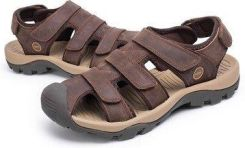 965c3040e488 Men Leather Hollow Out Toe Protecting Hook Loop Outdoor Beach Sandals