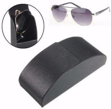 91907f71e15 Black Leather Iron Metal Curve Arc Hard Case Box for Eye Glasses Sunglasses