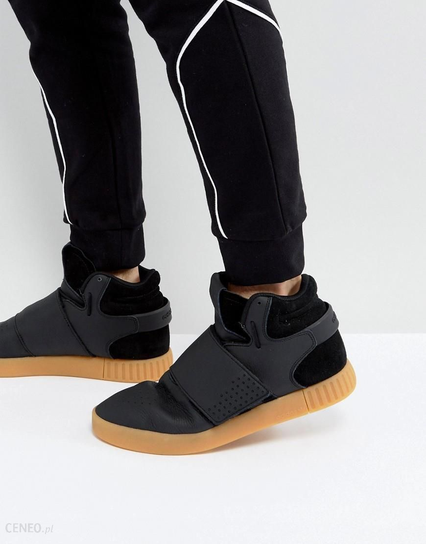 adidas Tubular Invader Strap Sneakers In Black BY3630