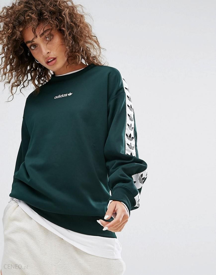 Adidas Originals Tnt Tape Crew Neck Sweat In Green