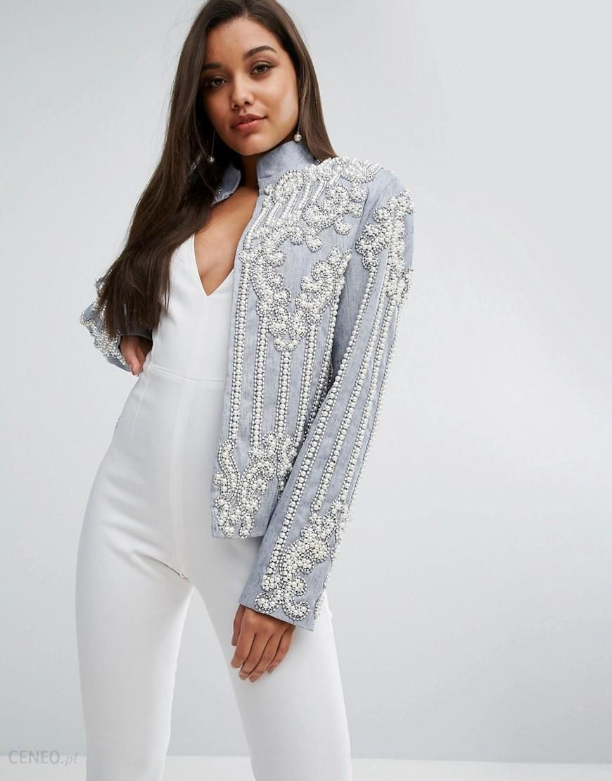 A Star Is Born Chambray Trophy Jacket With Faux Pearl Embellishment Blue Ceneo.pl