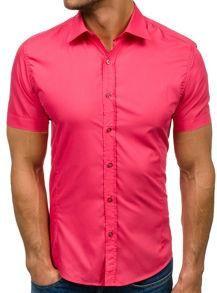 a973bde98576 Koszula męska elegancka z krótkim rękawem koralowy Bolf 7501