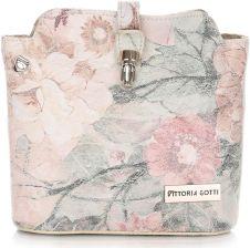 5403259b379f0 Torebka Skórzana Listonoszka firmy Vittoria Gotti Made in Italy we wzór  Kwiatów Multikolor Beżowa (kolory ...