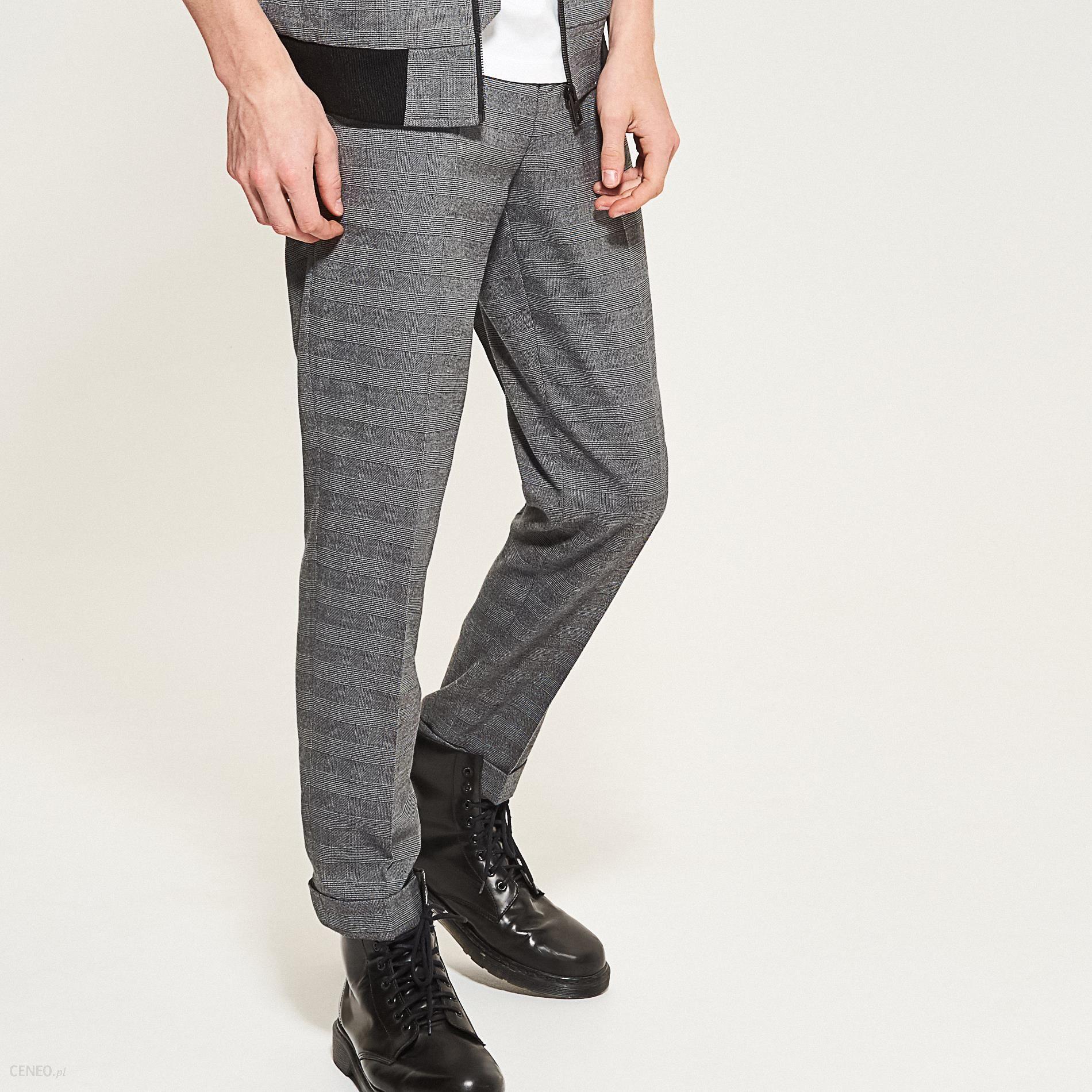 06e4a842d17e2 Reserved - Eleganckie spodnie w kratę - Szary - damski - Ceny i ...