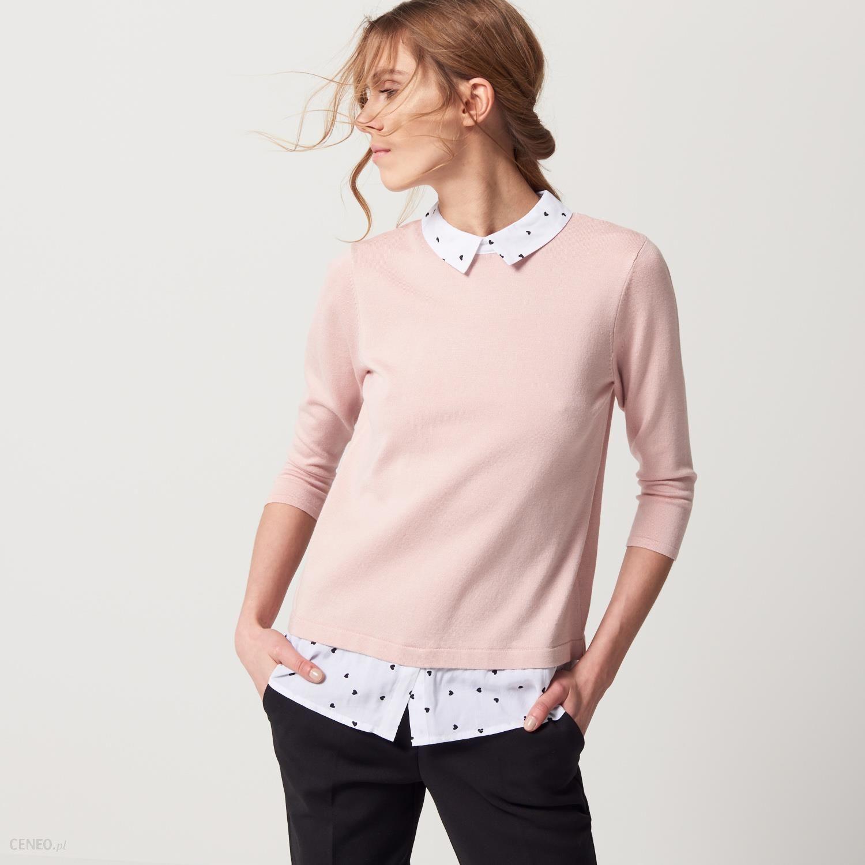 09f53eb1fa29d1 Mohito - Sweter z elementami koszuli - Różowy - damski - Ceny i ...