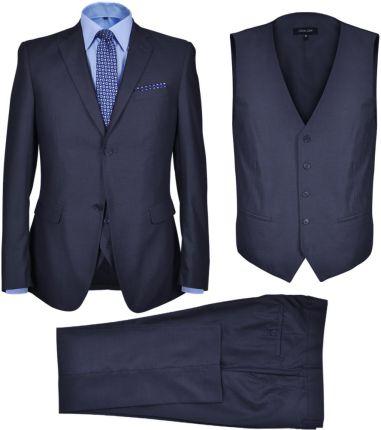 97af5f7fe5d2d vidaXL Trzyczęściowy garnitur biznesowy męski ROZMIAR: 52 KOLOR: Granat