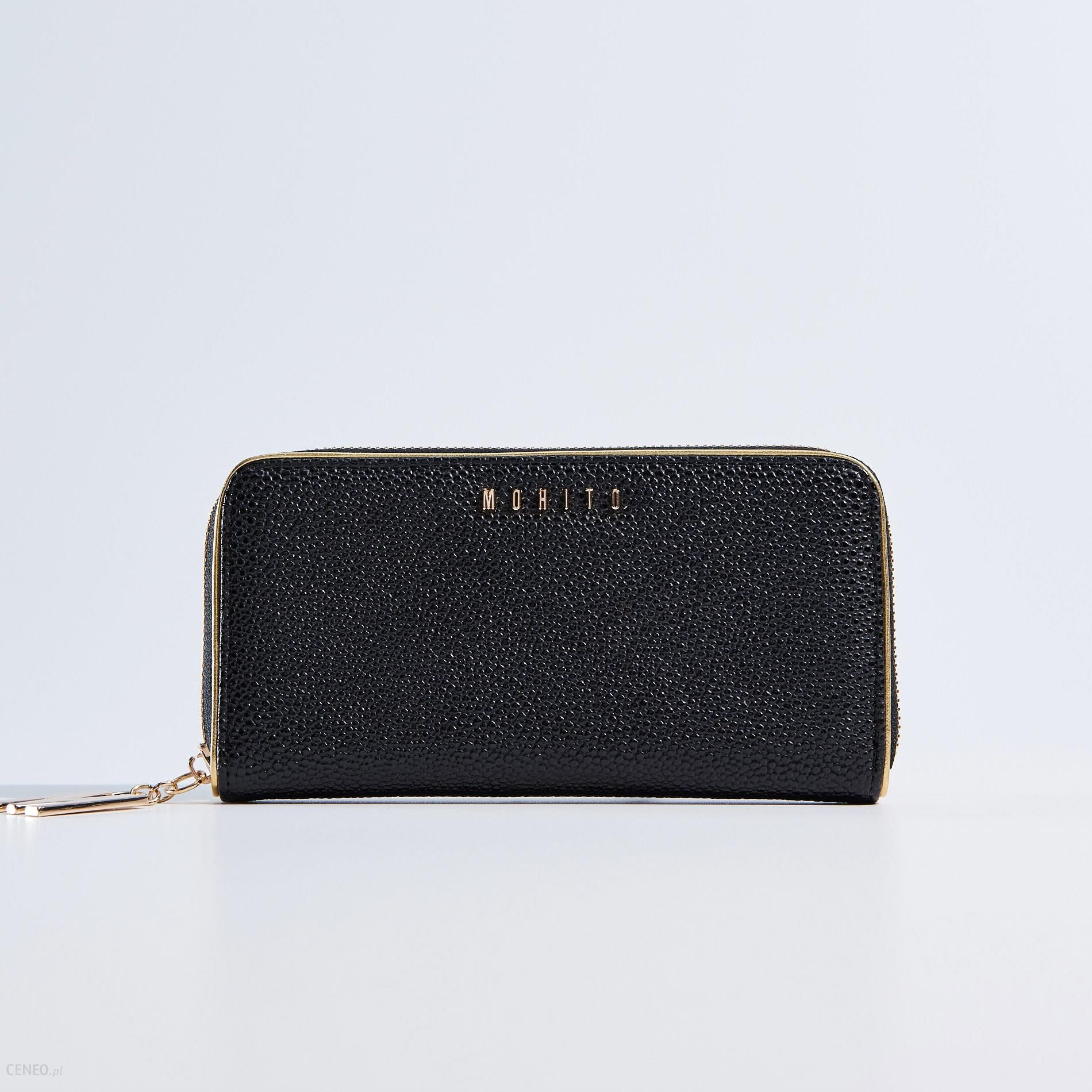 170c18fba432e Mohito - Czarny portfel ze złotą lamówką - Czarny - damski - Ceny i ...
