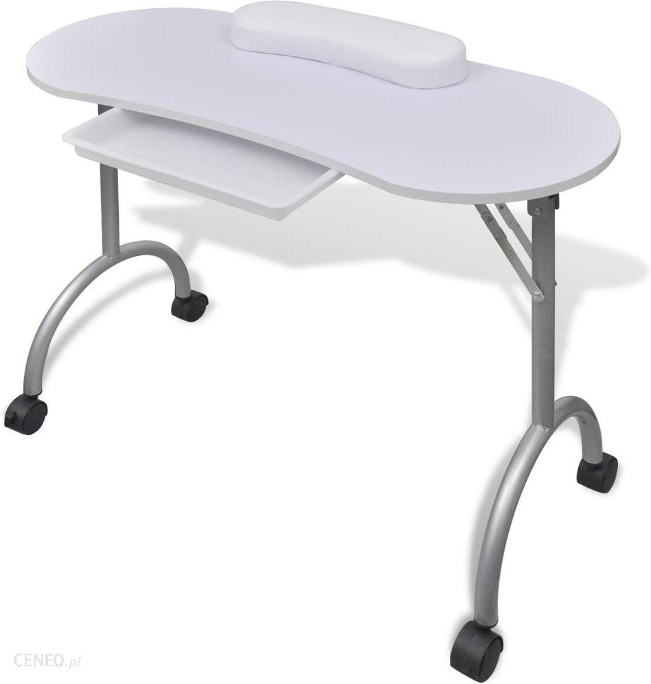 Vidaxl Składany Stolik Do Manicure Biały Z Kółeczkami