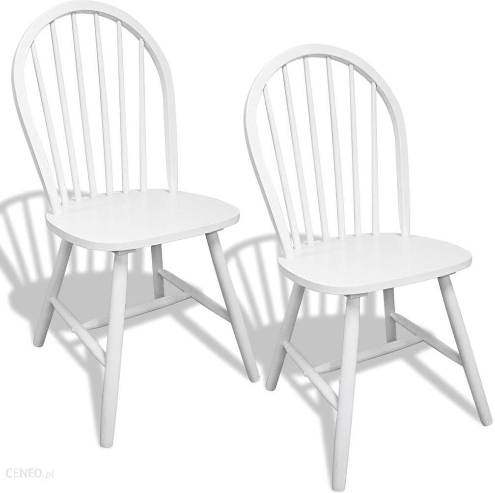 Vidaxl Drewniane Krzesła Do Jadalni Okrągłe Białe X2