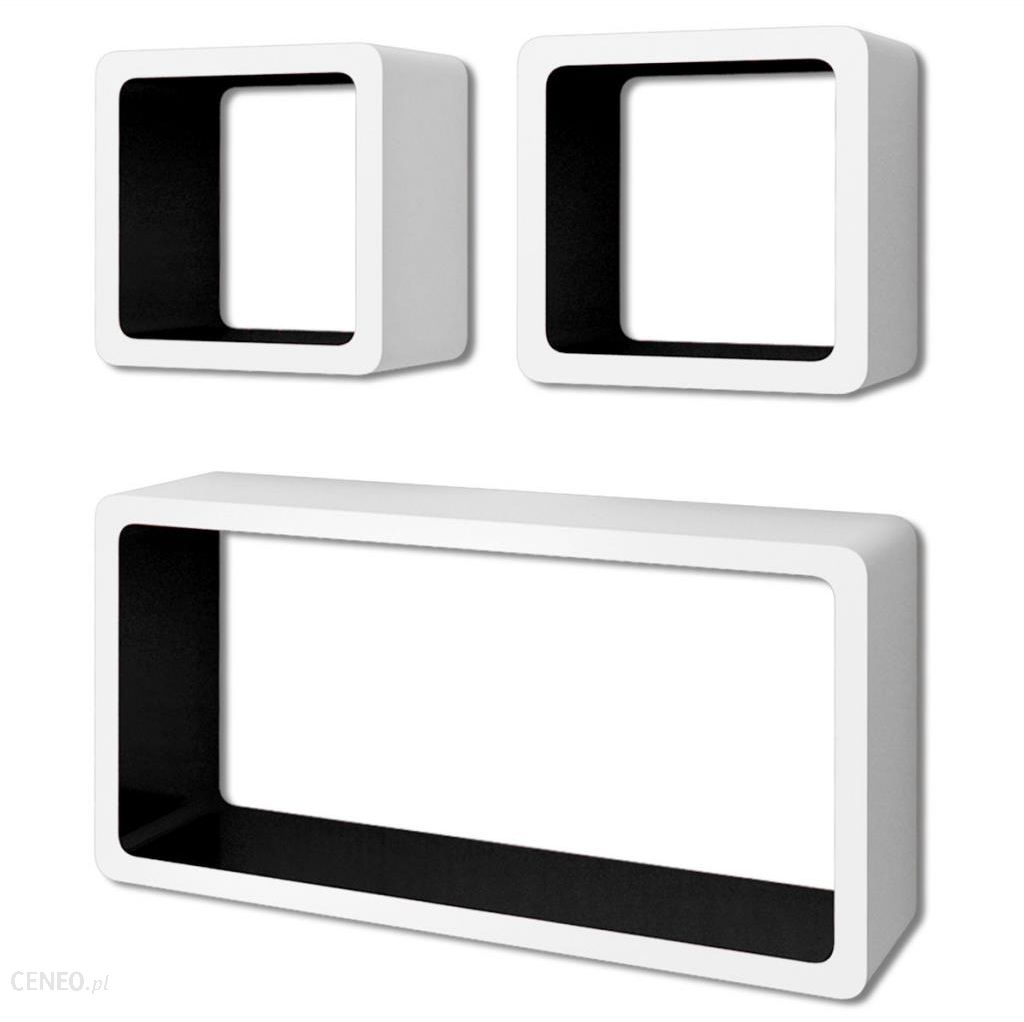 Vidaxl 3 Biało Czarne Wiszące Półki Ozdobne Mdf Cube