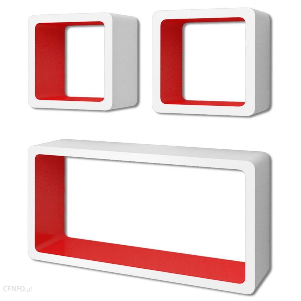 Vidaxl 3 Biało Czerwone Wiszące Półki Ozdobne Mdf Cube