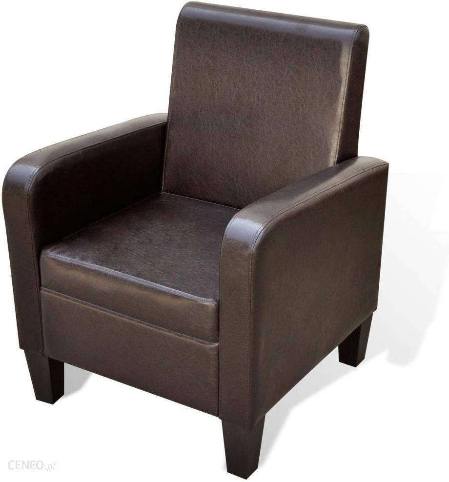 vidaXL Miękki nowoczesny fotel ze sztucznej skóry brązowy