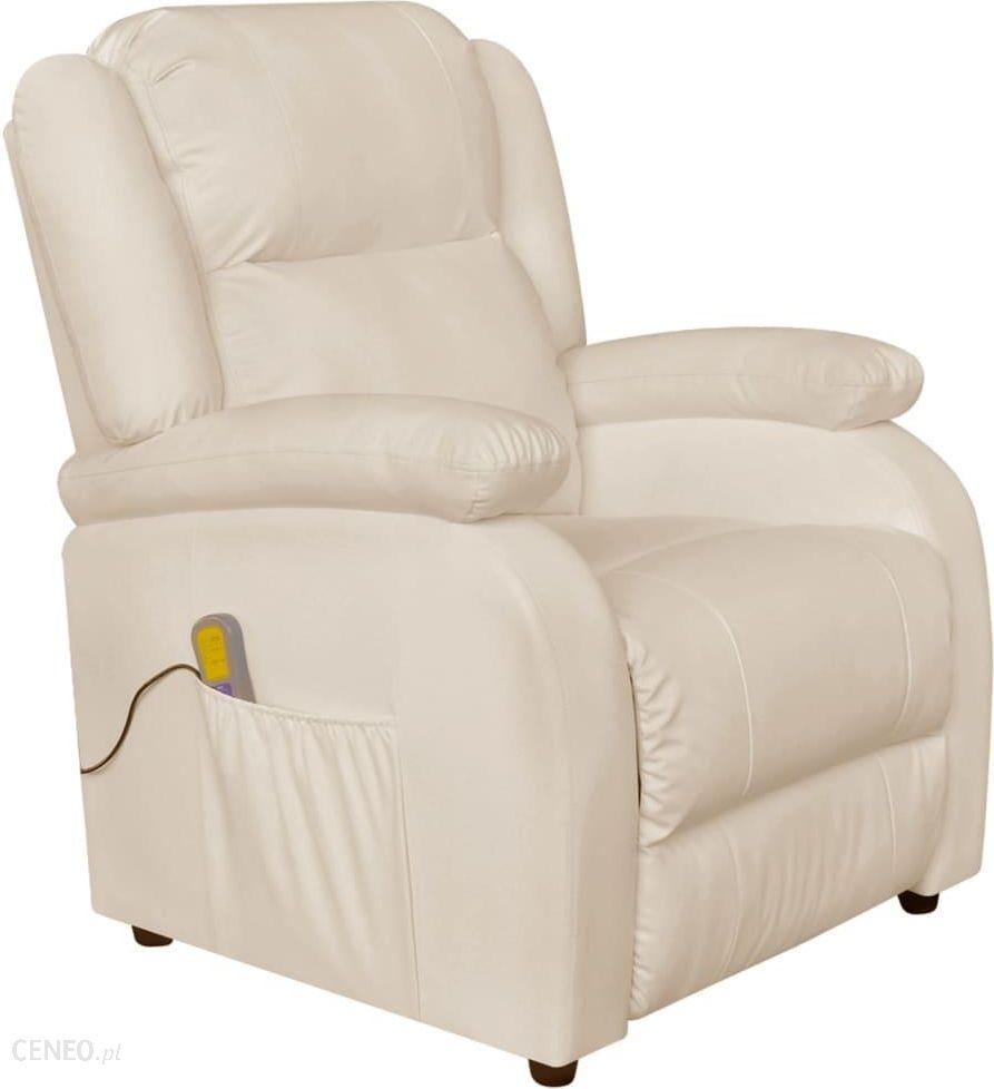 vidaXL Elektryczny rozkładany biały fotel masujący TV