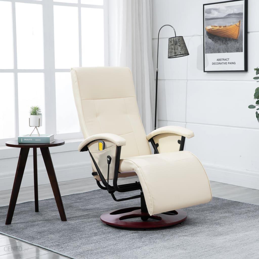 vidaXL Fotel Elektryczny do Masażu Kremowo Biały