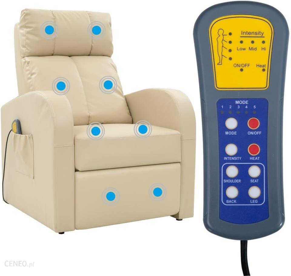 vidaXL Elektryczny fotel do masażu z pilotem, kremowo-biały.